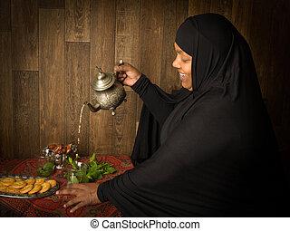 présentation, thé, les, islamique,...