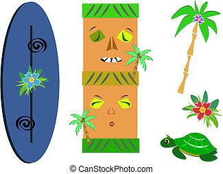 Mix of Tropical Tikis, Palm, Flower