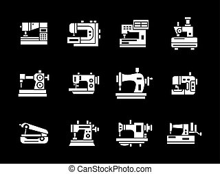 White glyph style sewing machine vector icons set -...