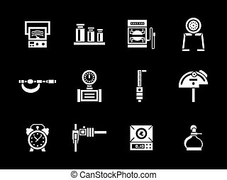 White glyph measurement equipment vector icons set -...
