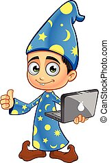 Boy Wizard In Blue - A cartoon illustration of a Boy Wizard...