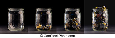 Glass jars with coins like diagram, isolated - savings...