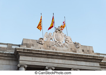 Barcelonas town hall - Detail of the facade of the City of...