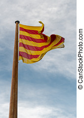 Flag of Catalunya - Detail of the flag of Catalunya in Spain