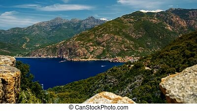 4K, Time Lapse, View on Porto, Corsica - Panned and tilted...