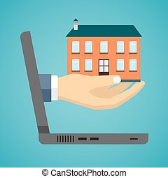Hand of a businessman is holding a house model.