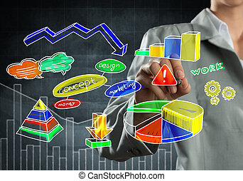 Woman sketching infographs - Close view of businesswoman...