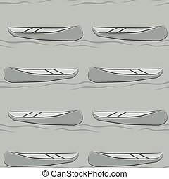 Seamless pattern of abstract canoe. Vector illustration background