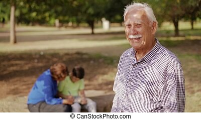 4-Active Grandfather Doing School Homework With Boy - Old...