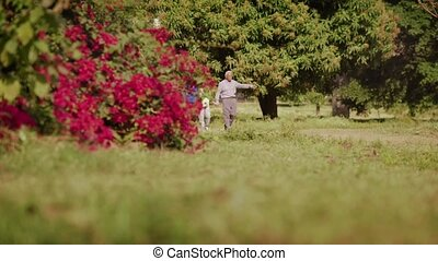 5-Grandpa And Grandma Walking In Park With Boy - Old and...