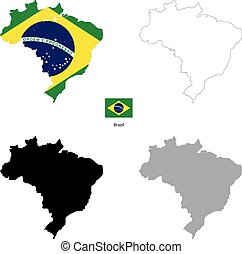 Brazil country black silhouette and with flag on background