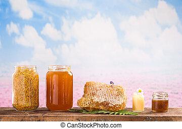 Still life of honey, products - Still life of jars of honey,...