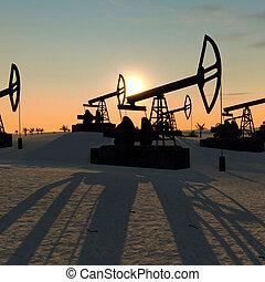 oil pumps in the desert  3D illustration