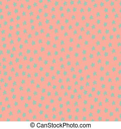 Seamless pattern with blue stars on pink background