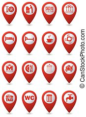 Icons set on red map pointers