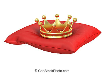 Gold Crown on the red pillow, 3D rendering