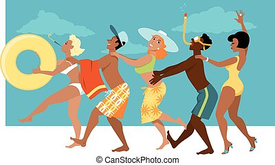 Summer Fun - Diverse group of people in swimsuits dancing a...