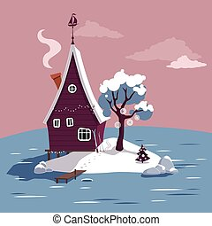 Winter holiday in a cottage