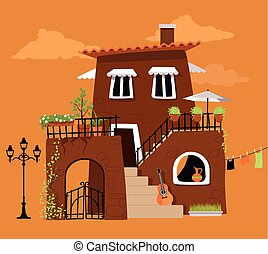 Romantic villa - Cartoon villa in the traditional Italian or...