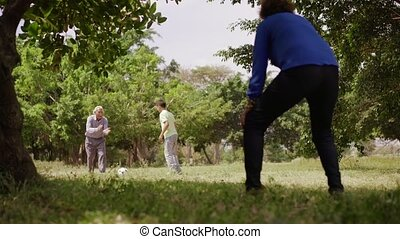 12-Happy Family Grandma Grandpa And Boy Playing Football -...