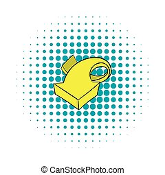 Yellow spiral arrow icon, comics style