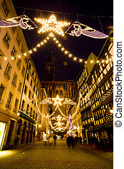 Strasbourg - Merciere Street and Cathedral Notre Dame,...