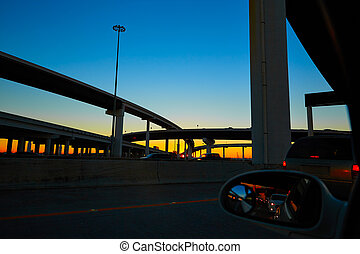 Sunset in Highway with bridges in Houston