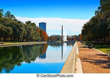 Houston Hermann park Pioneer memorial obelisk with...