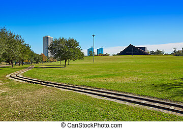 Houston Hermann park railway and Miller Theatre outdoor