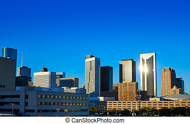 Houston downtown skyline of Texas city in US USA North...