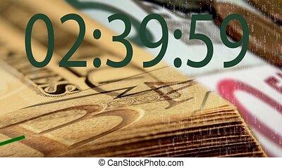 digital timer on banknote background