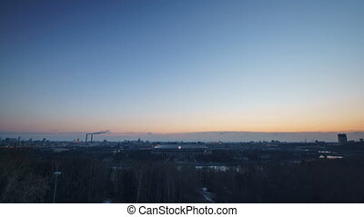 Dawn in the city, views Moscow Luzhniki stadium time-lapse