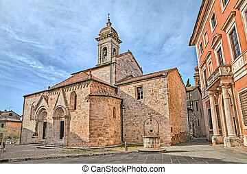 cathedral of San Quirico dOrcia - medieval catholic church...