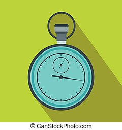 Stopwatch icon in flat style on a green background