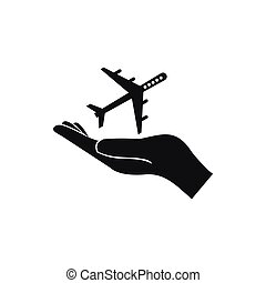 Protection of air travel icon, simple style