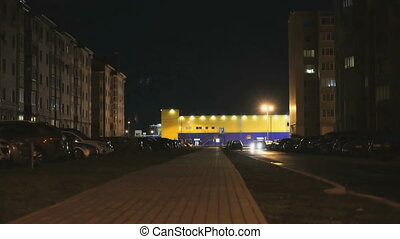 Night landscape of two multi-storey houses