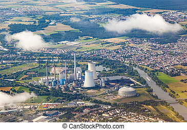 aerial of powerstation in Grosskrotzenburg, Main river -...