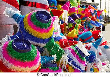 mexicano,  Pinatas, colorido, Tejido, papel, fiesta
