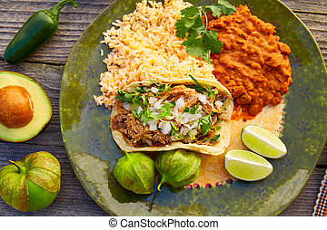 Mexican carnitas tacos with salsa