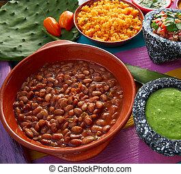 Frijoles, mexicano, frijoles, con, arroz, y, Salsas,