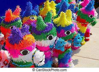 mexicano, fiesta, Pinatas, Tejido, colorido, papel,