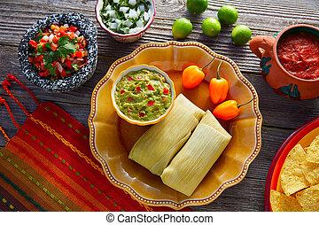 mexicano, Tamale, Tamales, de, maíz, hojas,
