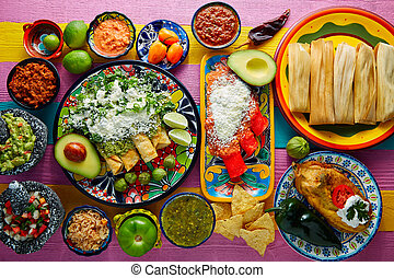 verde, y, rojo, Enchiladas, con, mexicano, Salsas,
