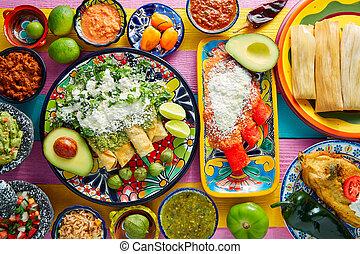 verde,  Enchiladas, mexicano, rojo, Salsas