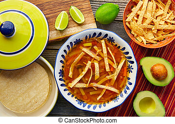 Mexican tortilla soup and aguacate colorful mexico food