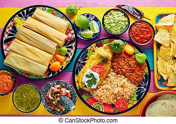 Tamale, pimienta, hoja, maíz, chile, llenado