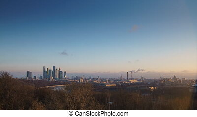 sunrise in the city - Moscow river, business center Moscow...