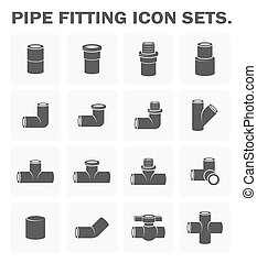 Pipe fitting icon - Pipe fitting vector icon sets design