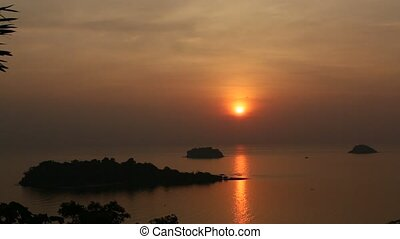 Beautiful sunset on the Koh Chang island, Thailand.
