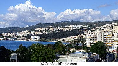 High angle panoramic view of Kavala, Greece